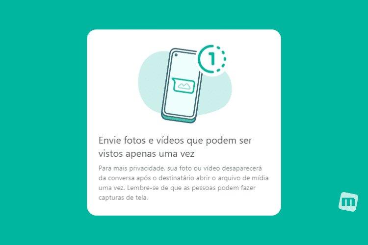 """WhatsApp libera função de """"Ver apenas uma vez"""" para a versão web"""